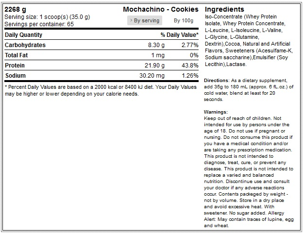okygen-sports 100-whey-protein-5lb-2267g 1 mochachino - cookies facts