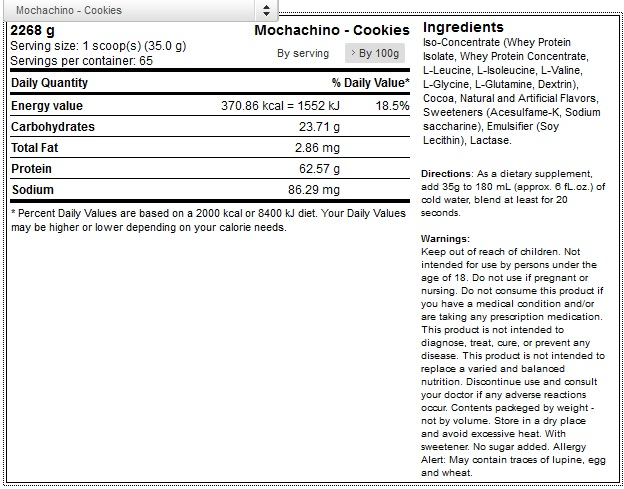 okygen-sports 100-whey-protein-5lb-2267g 1 mochachino - cookies facts2