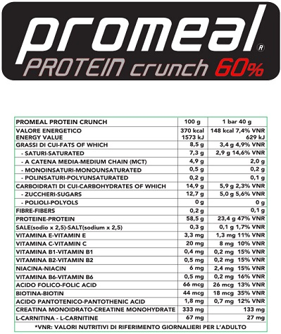promealproteincrunchtab 60  volchem facts